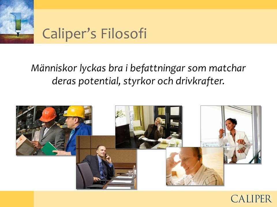 Caliper's Filosofi Människor lyckas bra i befattningar som matchar deras potential, styrkor och drivkrafter.