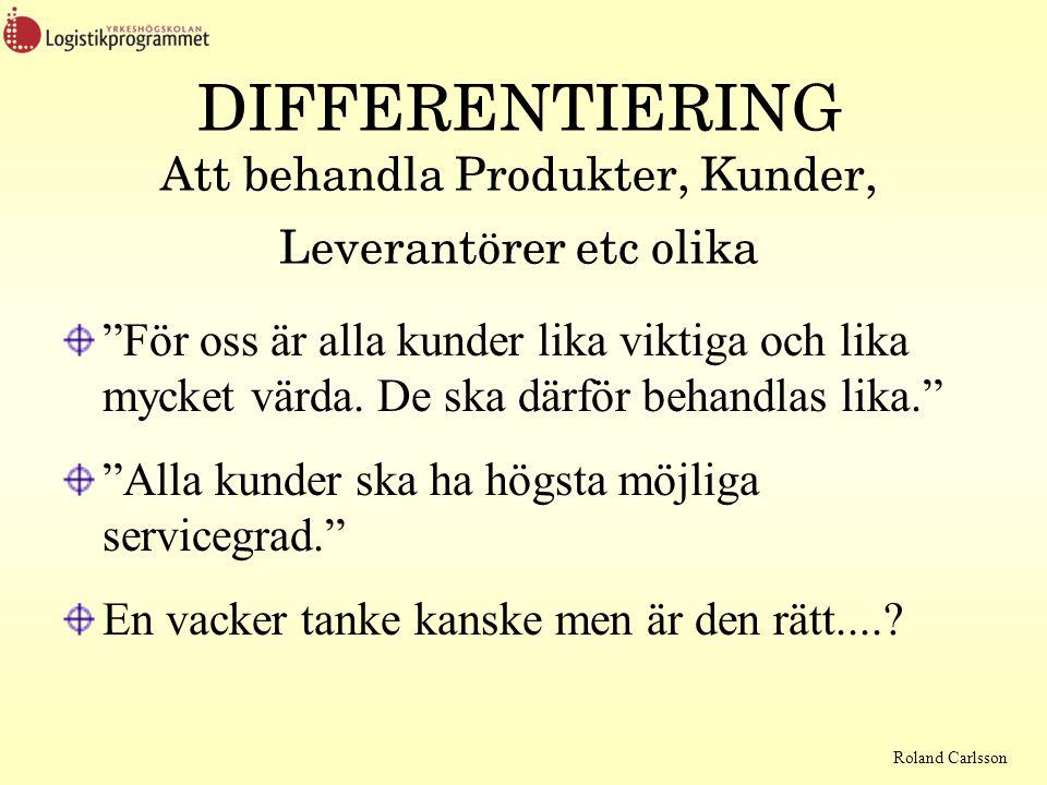 DIFFERENTIERING Att behandla Produkter, Kunder, Leverantörer etc olika
