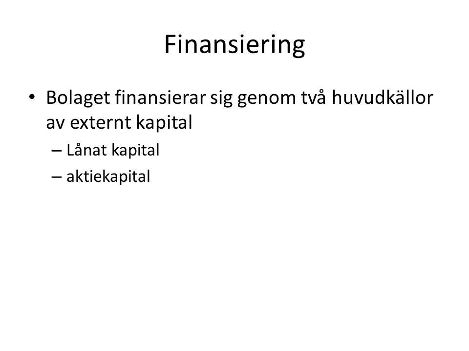 Finansiering Bolaget finansierar sig genom två huvudkällor av externt kapital.