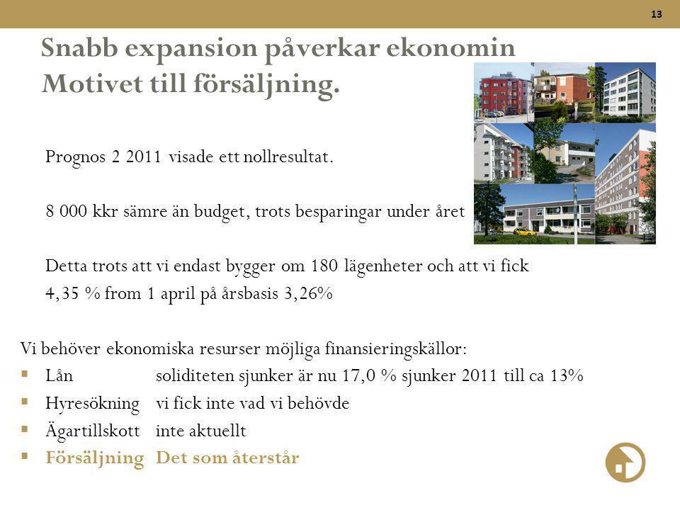 Snabb expansion påverkar ekonomin Motivet till försäljning.