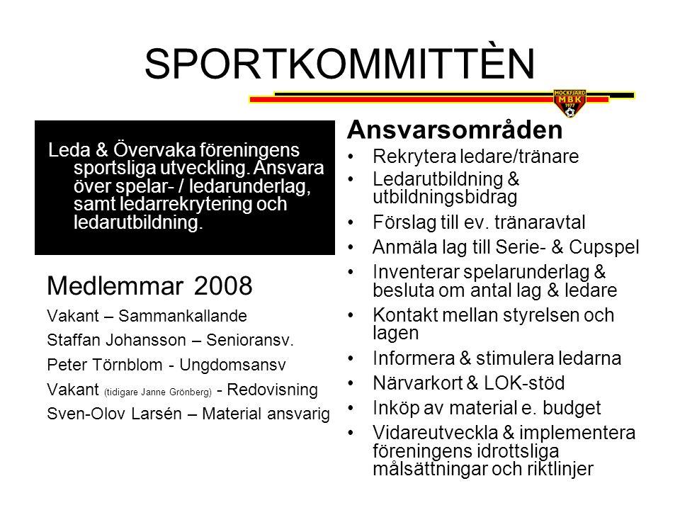 SPORTKOMMITTÈN Ansvarsområden Medlemmar 2008