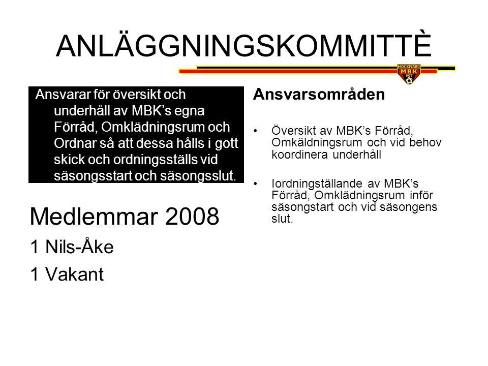 ANLÄGGNINGSKOMMITTÈ Medlemmar 2008 1 Nils-Åke 1 Vakant Ansvarsområden