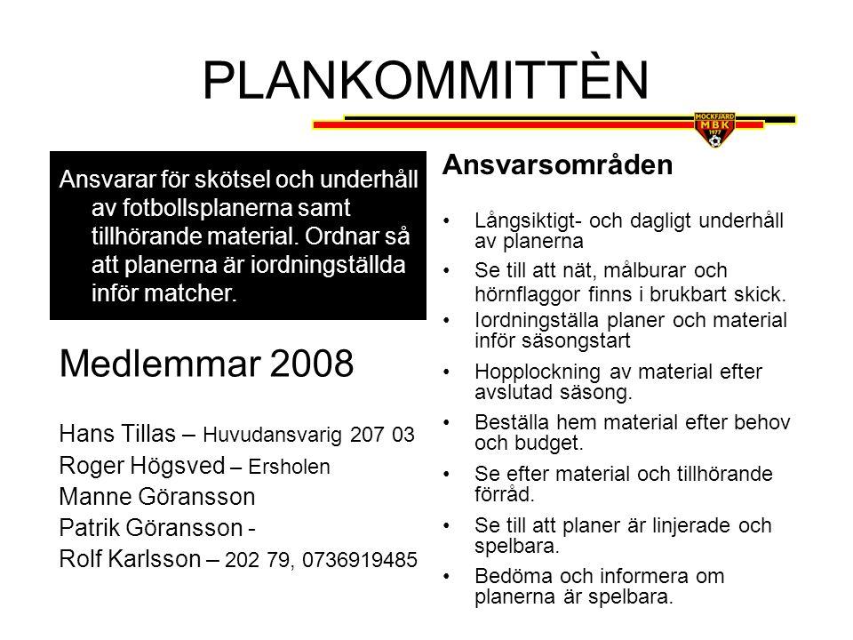 PLANKOMMITTÈN Medlemmar 2008 Ansvarsområden