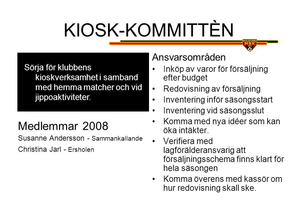 KIOSK-KOMMITTÈN Medlemmar 2008 Ansvarsområden