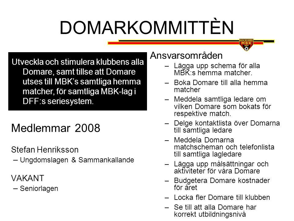 DOMARKOMMITTÈN Medlemmar 2008 Ansvarsområden
