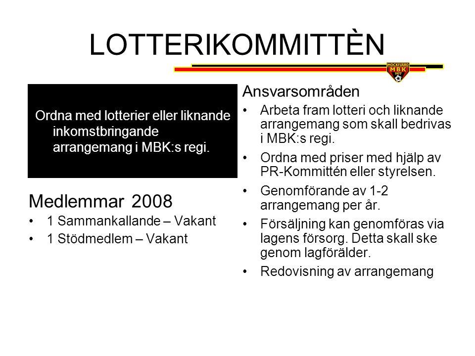 LOTTERIKOMMITTÈN Medlemmar 2008 Ansvarsområden
