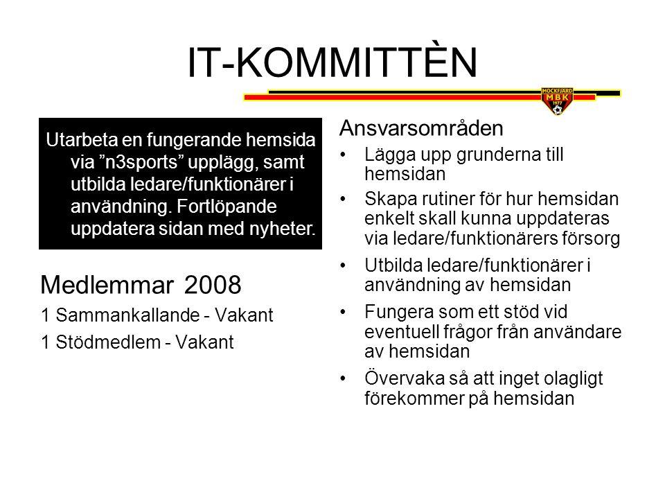 IT-KOMMITTÈN Medlemmar 2008 Ansvarsområden