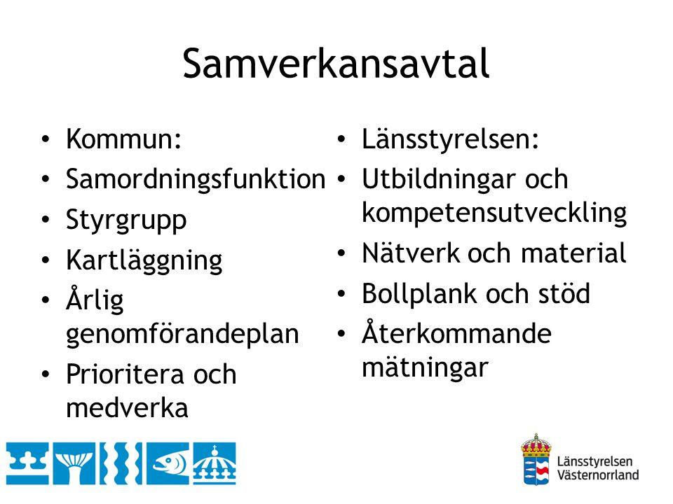 Samverkansavtal Kommun: Länsstyrelsen: Samordningsfunktion