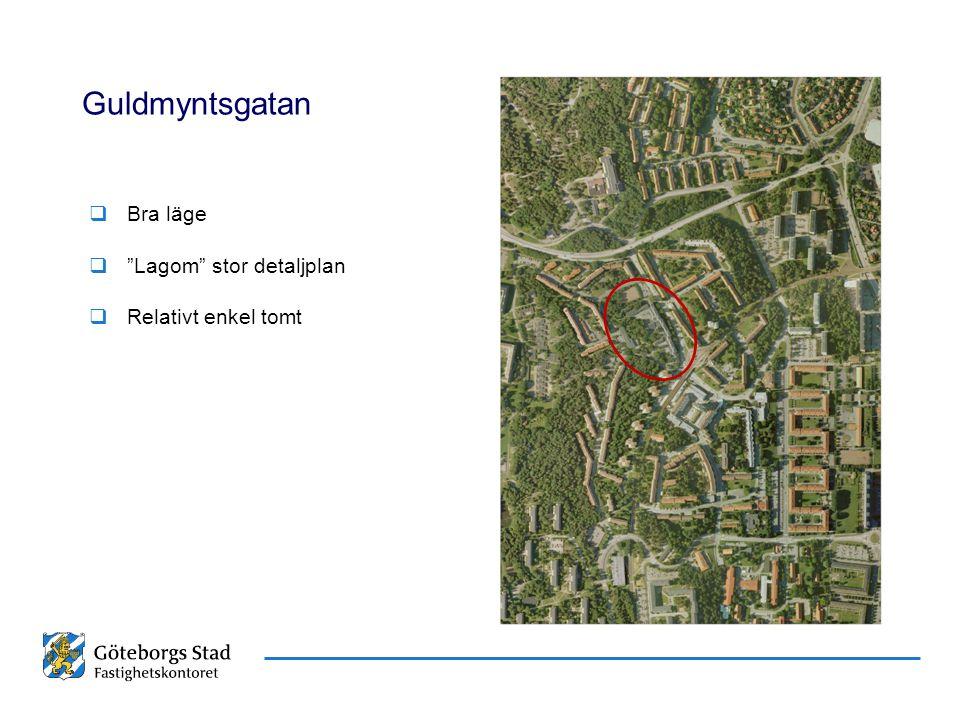Guldmyntsgatan Bra läge Lagom stor detaljplan Relativt enkel tomt