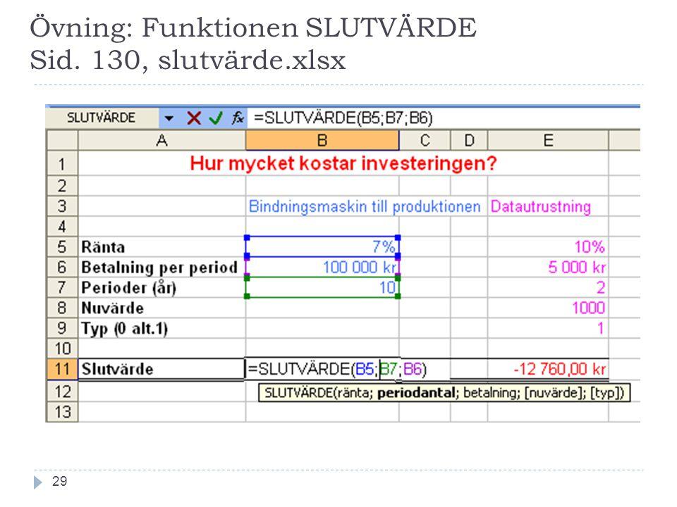 Övning: Funktionen SLUTVÄRDE Sid. 130, slutvärde.xlsx