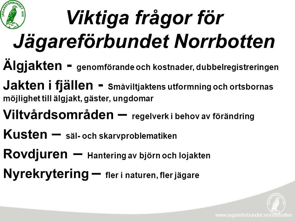 Viktiga frågor för Jägareförbundet Norrbotten