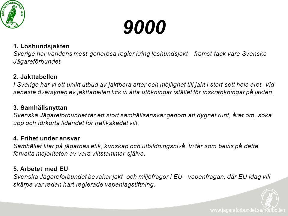 9000 1. Löshundsjakten. Sverige har världens mest generösa regler kring löshundsjakt – främst tack vare Svenska Jägareförbundet.