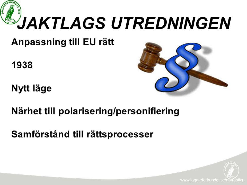 JAKTLAGS UTREDNINGEN Anpassning till EU rätt 1938 Nytt läge