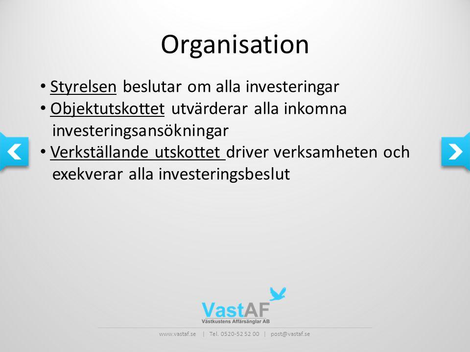 Organisation Styrelsen beslutar om alla investeringar