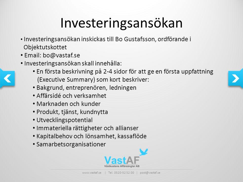 Investeringsansökan Objektutskottet