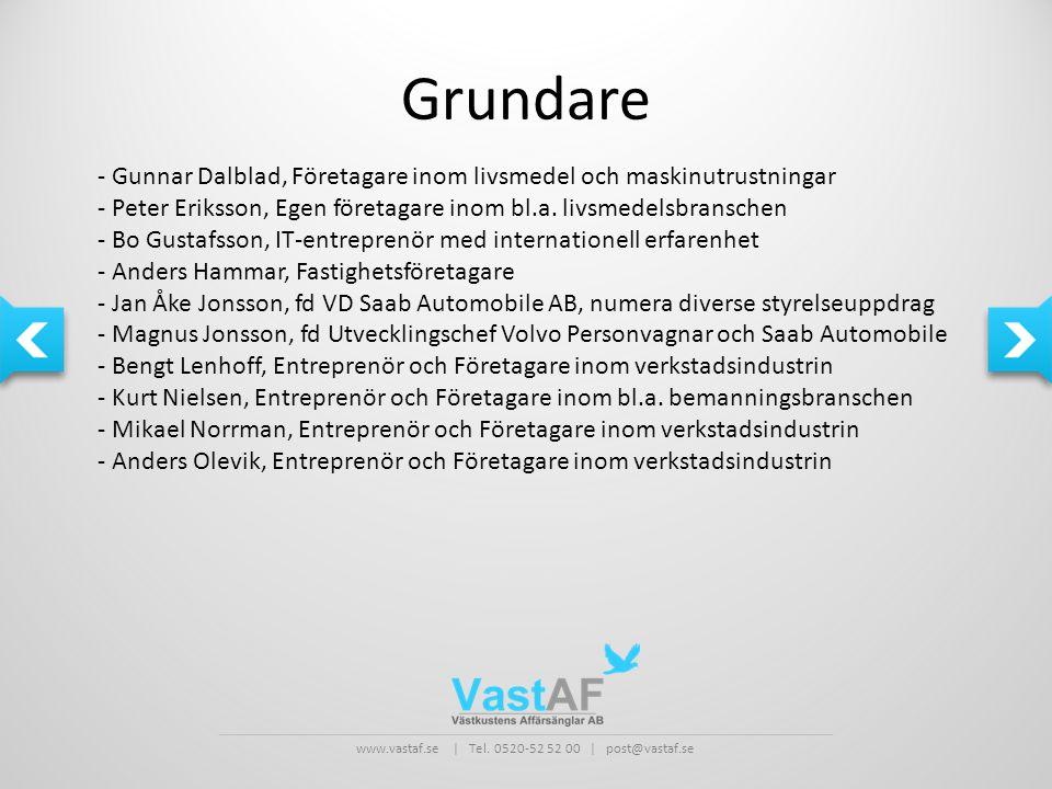 Grundare - Gunnar Dalblad, Företagare inom livsmedel och maskinutrustningar. - Peter Eriksson, Egen företagare inom bl.a. livsmedelsbranschen.