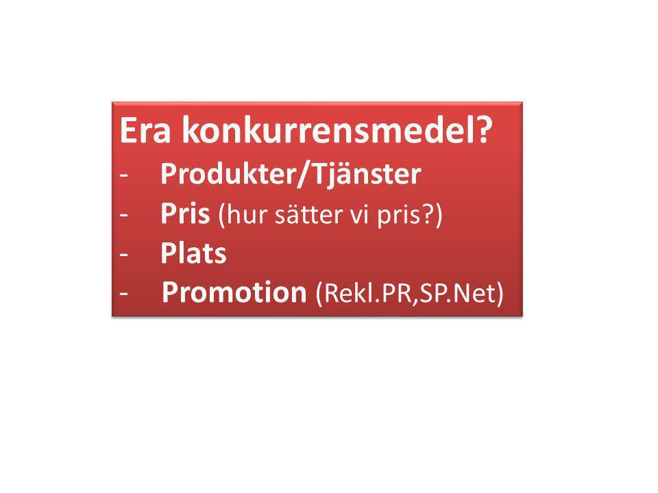 Era konkurrensmedel Produkter/Tjänster Pris (hur sätter vi pris )