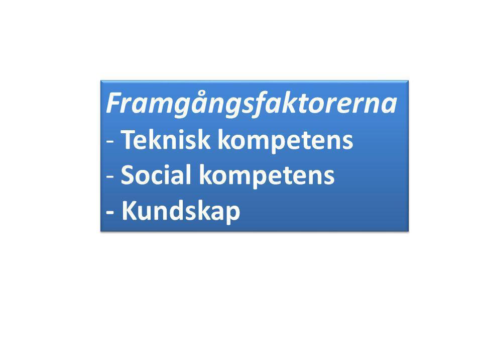Framgångsfaktorerna Teknisk kompetens Social kompetens - Kundskap