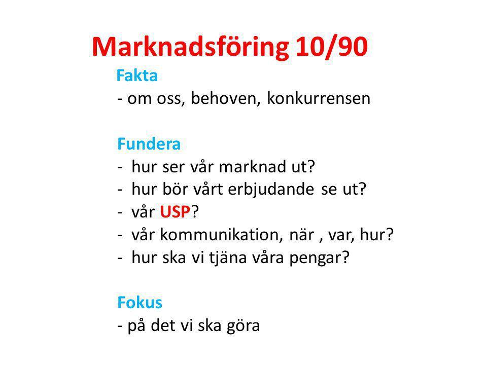 Marknadsföring 10/90 - om oss, behoven, konkurrensen Fundera
