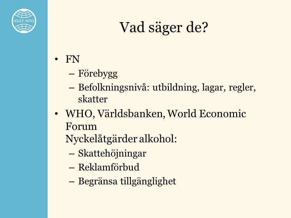 Vad säger de FN. Förebygg. Befolkningsnivå: utbildning, lagar, regler, skatter. WHO, Världsbanken, World Economic Forum Nyckelåtgärder alkohol: