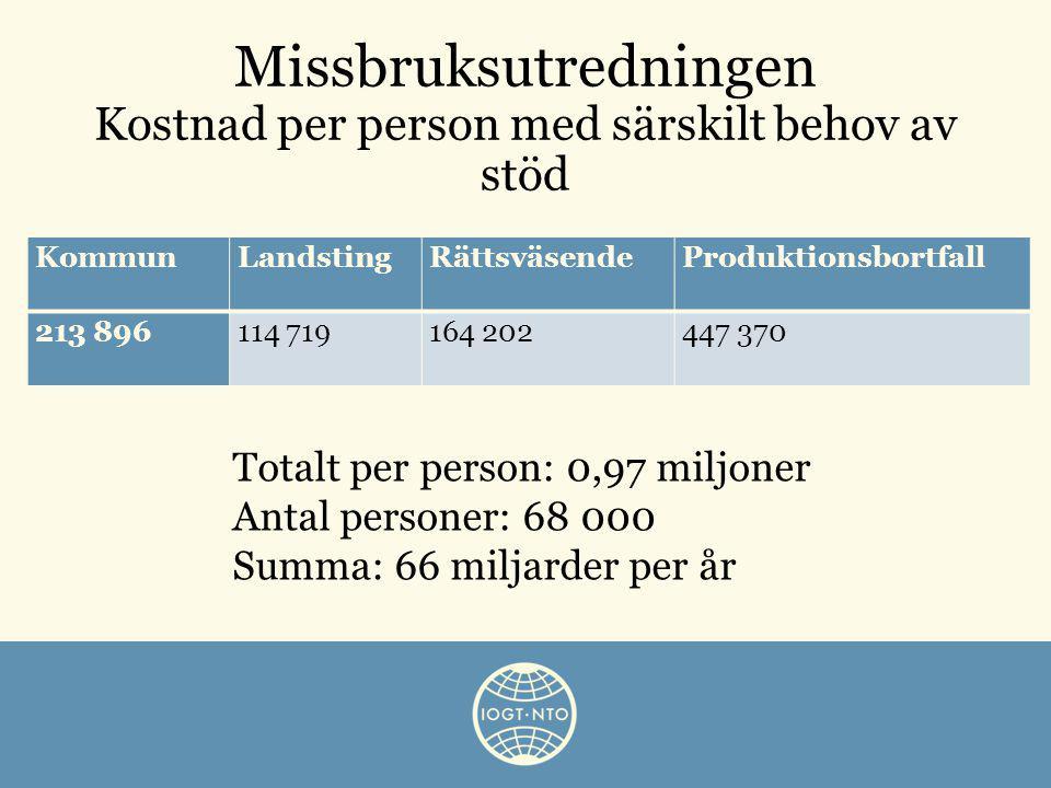 Missbruksutredningen Kostnad per person med särskilt behov av stöd