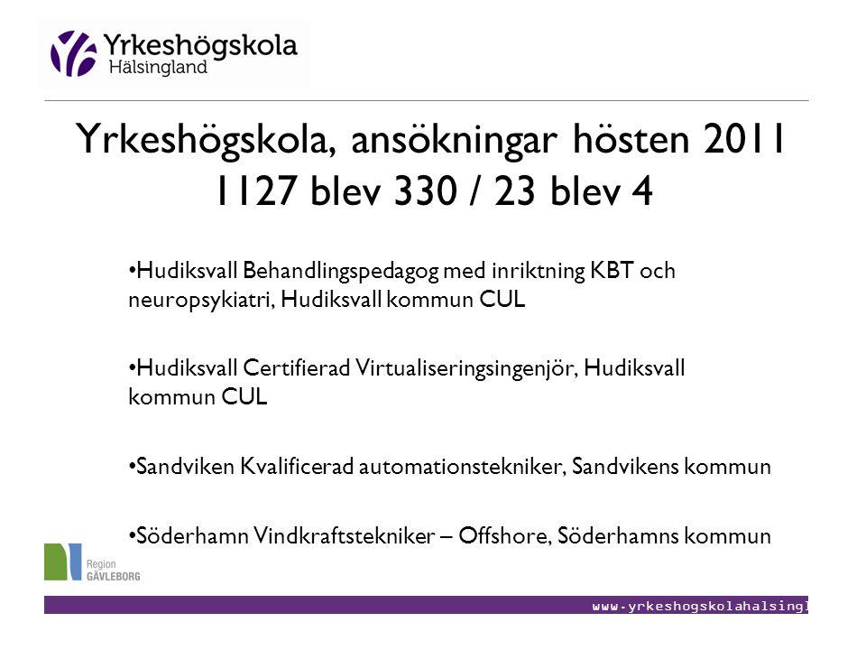Yrkeshögskola, ansökningar hösten 2011 1127 blev 330 / 23 blev 4