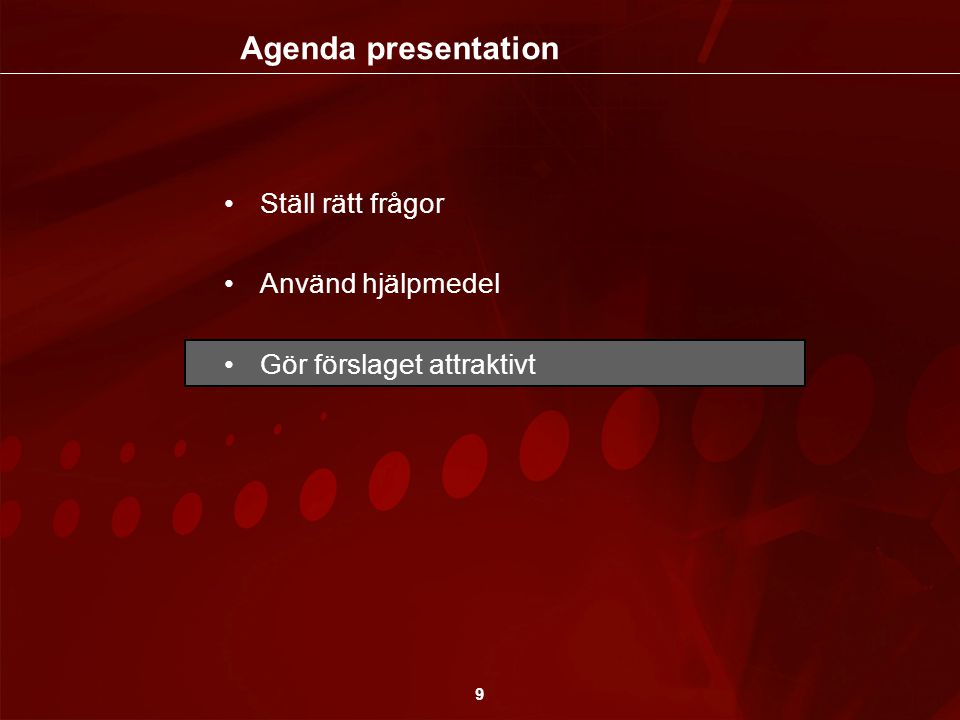Agenda presentation Ställ rätt frågor Använd hjälpmedel