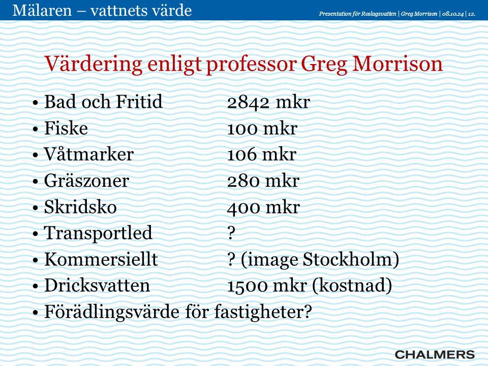Värdering enligt professor Greg Morrison