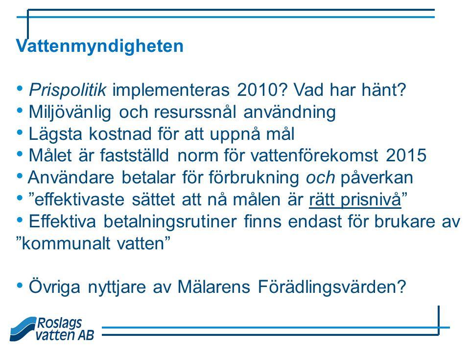 Vattenmyndigheten Prispolitik implementeras 2010 Vad har hänt Miljövänlig och resurssnål användning.