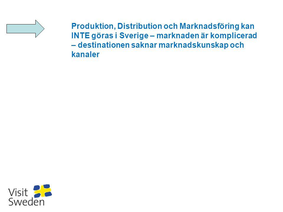 Produktion, Distribution och Marknadsföring kan INTE göras i Sverige – marknaden är komplicerad – destinationen saknar marknadskunskap och kanaler