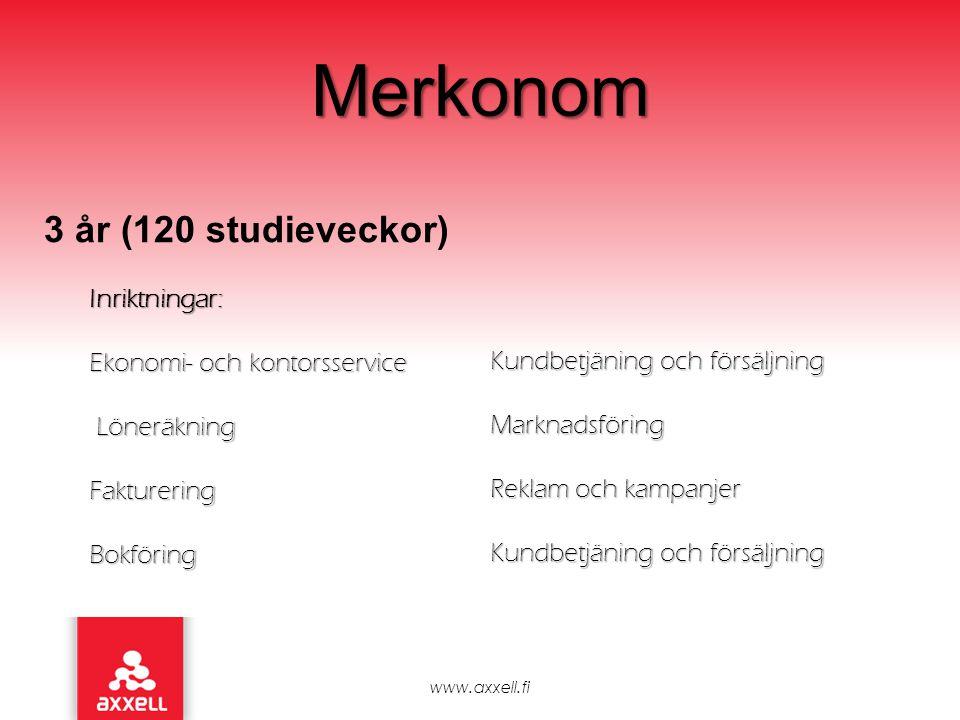 Merkonom 3 år (120 studieveckor) Inriktningar: