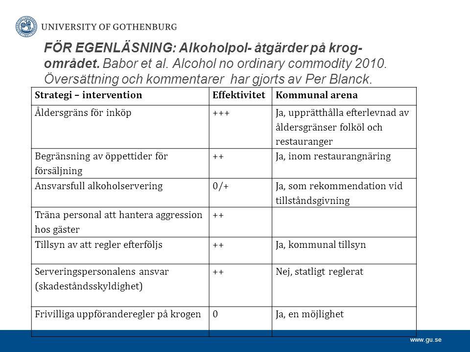 FÖR EGENLÄSNING: Alkoholpol- åtgärder på krog-området. Babor et al
