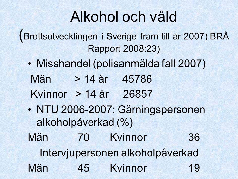 Alkohol och våld (Brottsutvecklingen i Sverige fram till år 2007) BRÅ Rapport 2008:23)