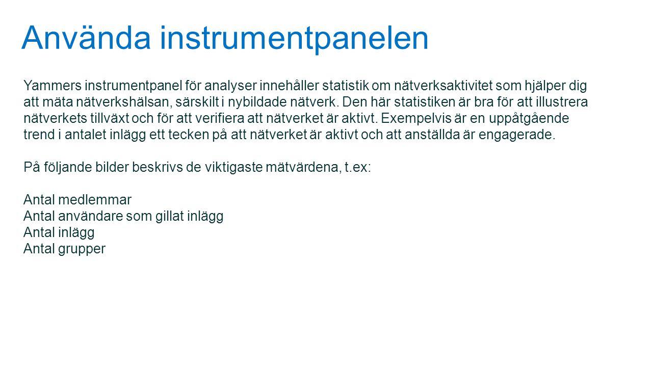 Använda instrumentpanelen