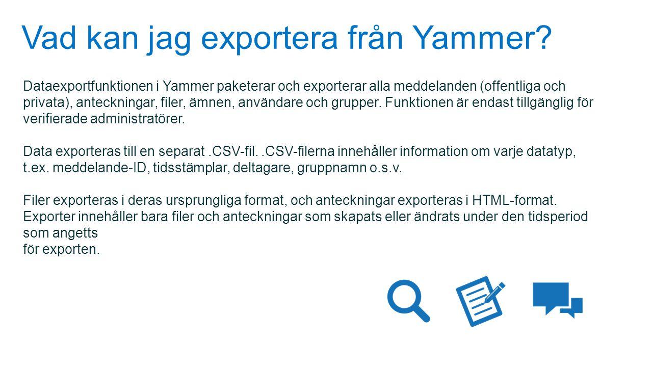 Vad kan jag exportera från Yammer