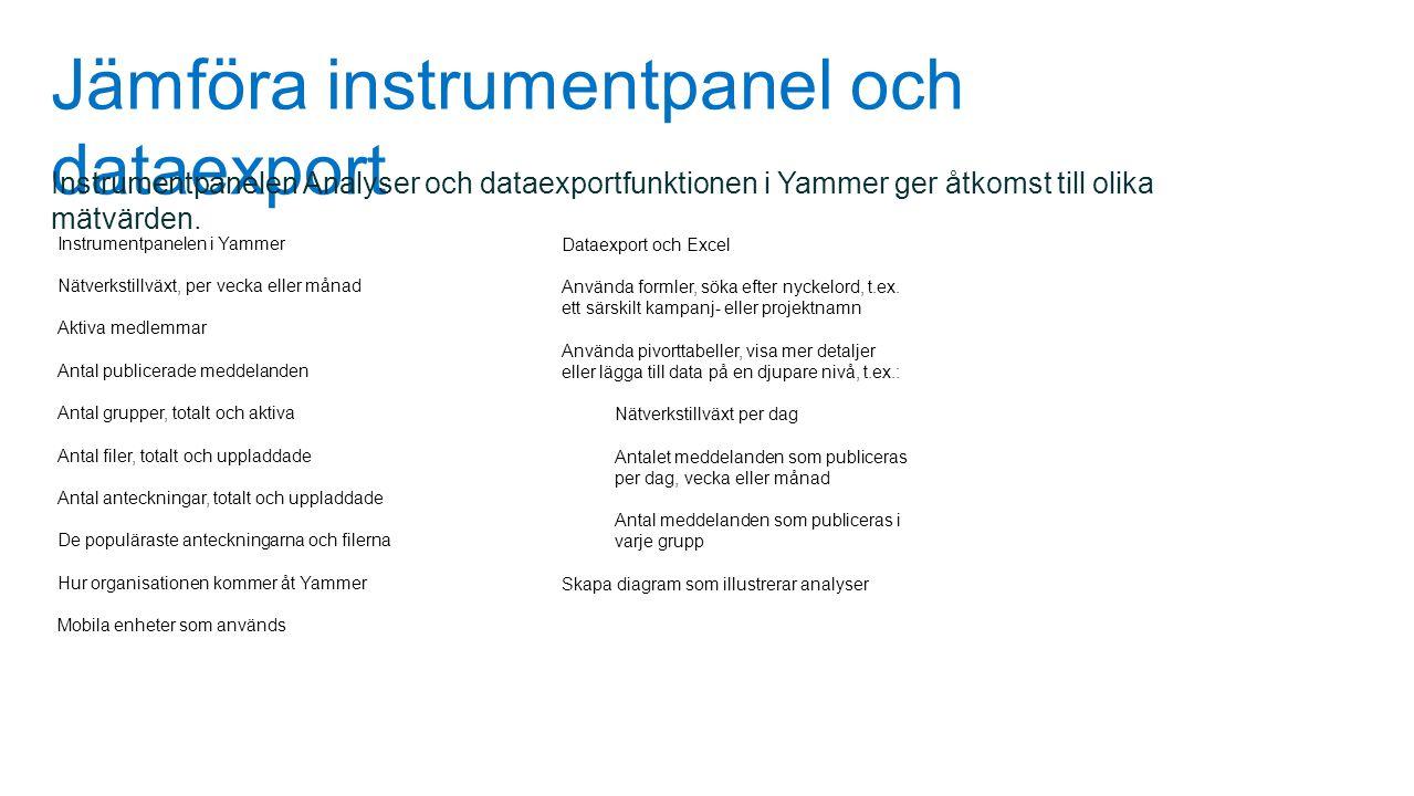 Jämföra instrumentpanel och dataexport