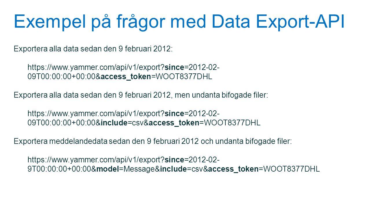 Exempel på frågor med Data Export-API