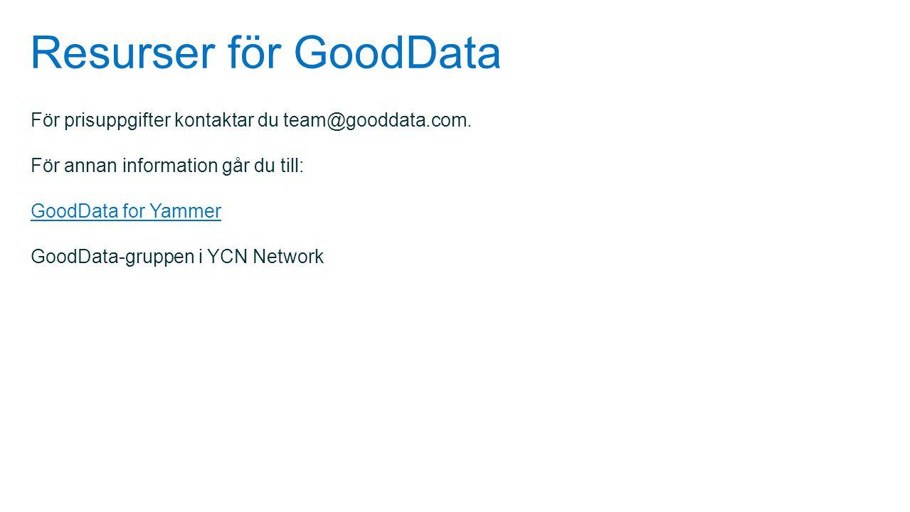 Resurser för GoodData För prisuppgifter kontaktar du team@gooddata.com. För annan information går du till:
