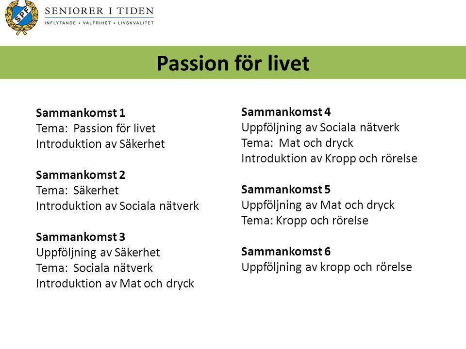 Passion för livet Sammankomst 1 Sammankomst 4 Tema: Passion för livet