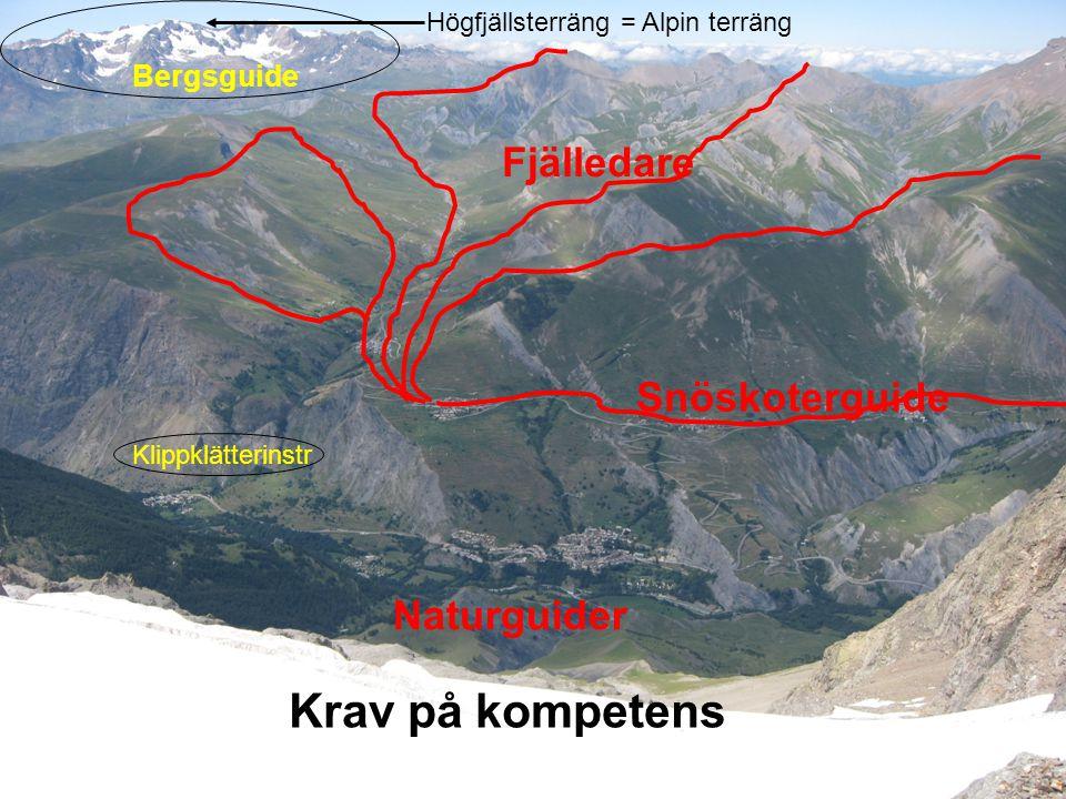 Krav på kompetens Fjälledare Snöskoterguide Naturguider Bergsguide
