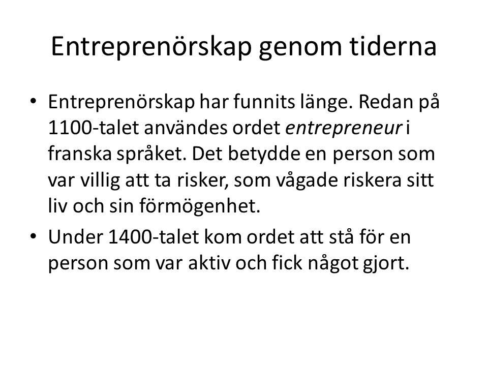 Entreprenörskap genom tiderna