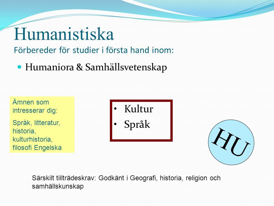Humanistiska Förbereder för studier i första hand inom: