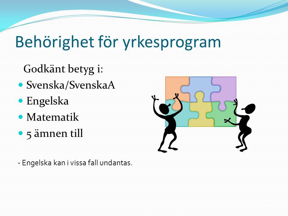 Behörighet för yrkesprogram