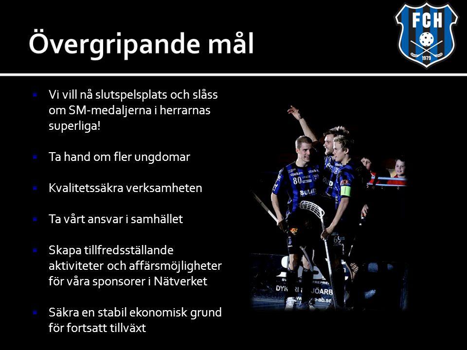 Övergripande mål Vi vill nå slutspelsplats och slåss om SM-medaljerna i herrarnas superliga! Ta hand om fler ungdomar.