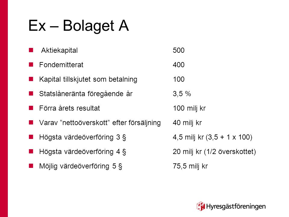 Ex – Bolaget A Aktiekapital 500 Fondemitterat 400