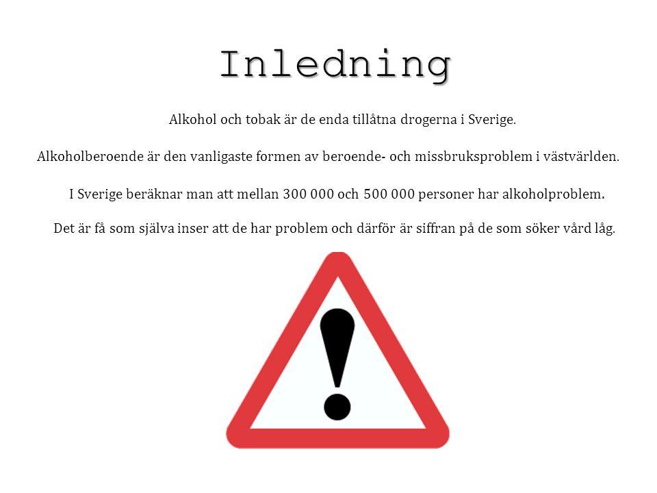 Alkohol och tobak är de enda tillåtna drogerna i Sverige.
