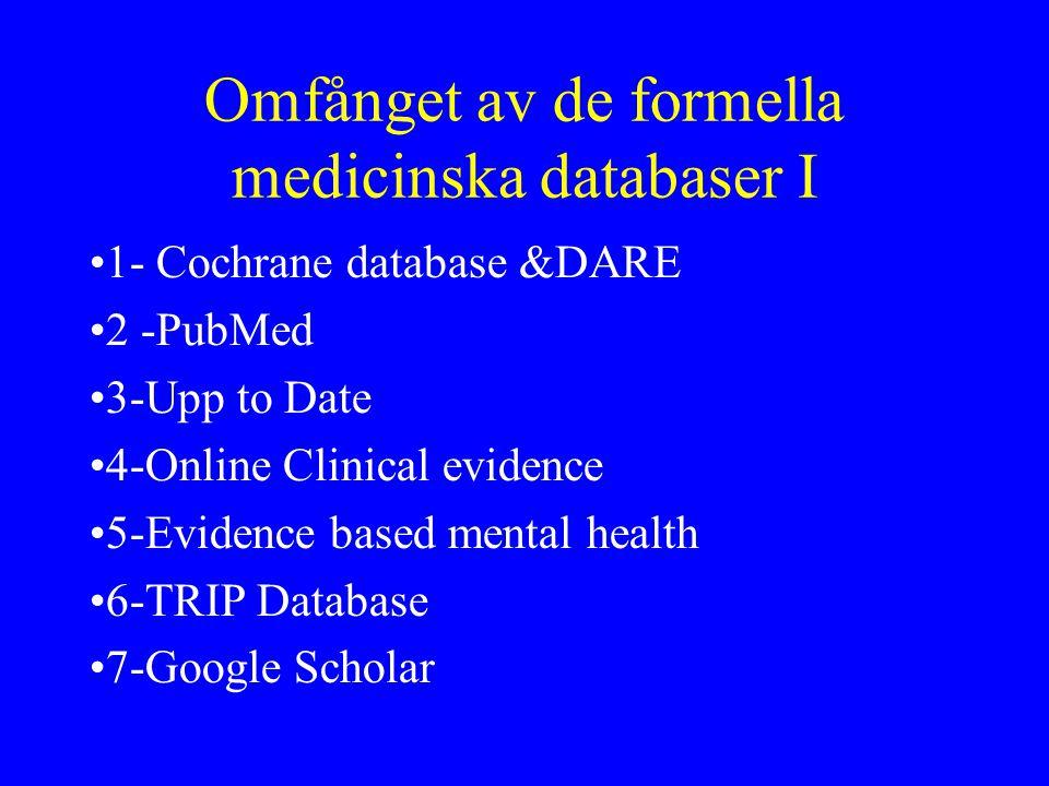 Omfånget av de formella medicinska databaser I