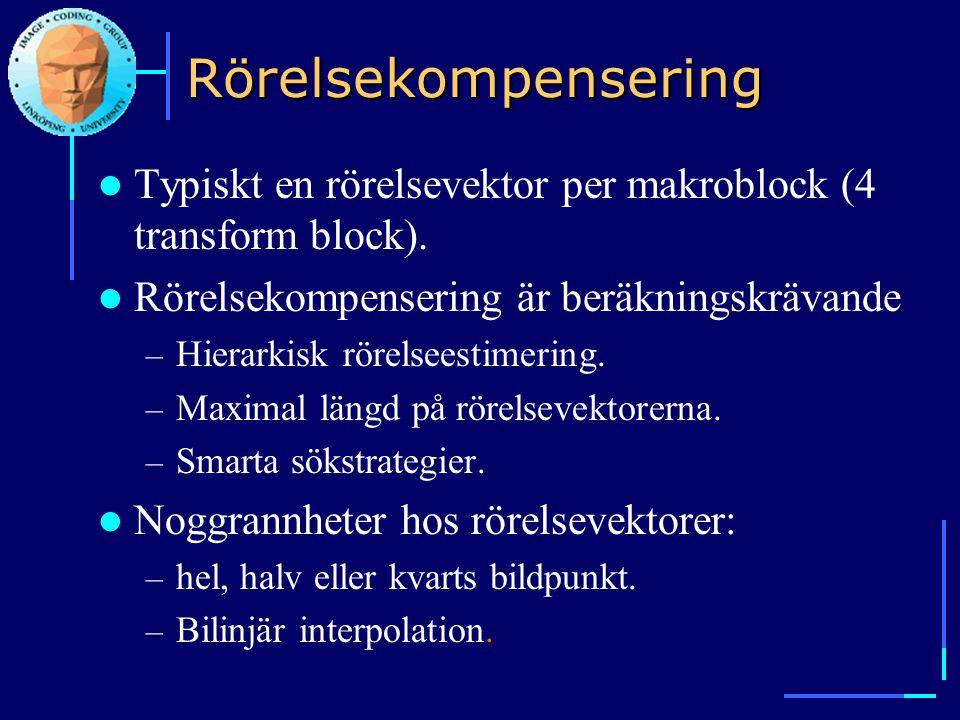 Rörelsekompensering Typiskt en rörelsevektor per makroblock (4 transform block). Rörelsekompensering är beräkningskrävande.