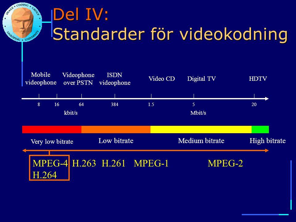 Del IV: Standarder för videokodning