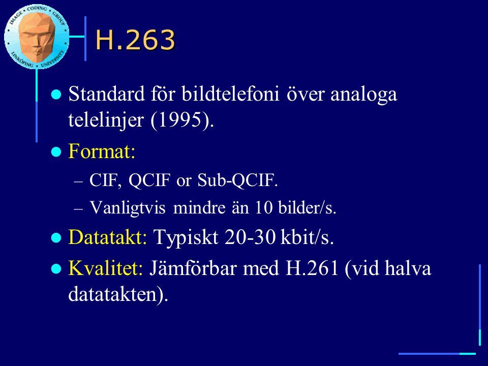 H.263 Standard för bildtelefoni över analoga telelinjer (1995).